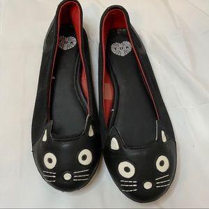 TUK Cat Face Leather Flats. Black Size:6